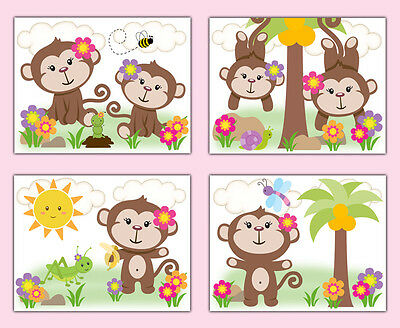 Safari Animals Monkey Nursery Decor Prints Wall Art Girl Pink Floral Baby Shower