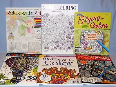 6 Adult Coloring Books 2016 Relax With Art, Zen Colouring, Amazing Animals +++