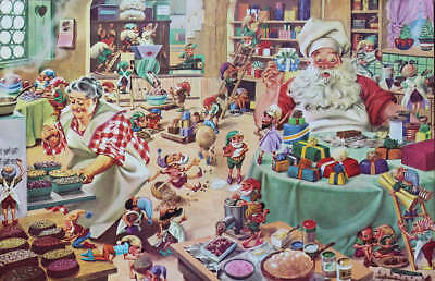 Santa and Mrs Claus baking cakes treats for Christmas