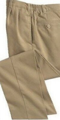 LANDS END Boy's Size 18 Khaki School Uniform Pleated Pants EXC