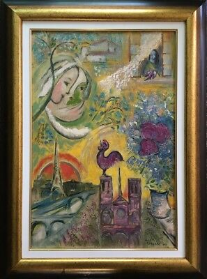 Russian/French Marc Chagall signed old oil, cardboard painting 77x57 cm! $1