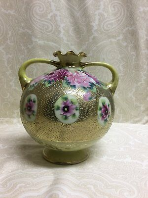 """1890's Nippon Chrysanthemum & Gold Moriage 7"""" Hand Painted  Vase - Such A GEM!"""