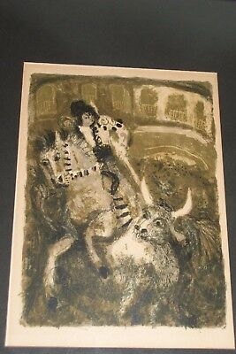 Vintage Expressionism Etching Spanish Bull Fighter