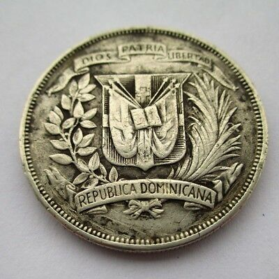 Dominican Republic 1 Peso Silver Coin Dated 1955 Approx 26.7 Grams Of 900 Silver