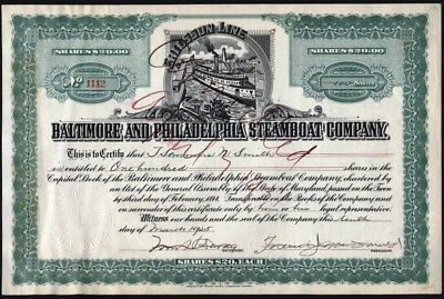 Baltimore And Philadelphia Steamboat Co - Ericsson Line, 1925 Stock Certificate