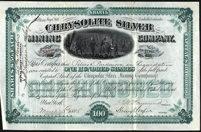 Chrysolite Silver Mining Co, 1885, Mine At Fryer Hill, Leadville, Co, Rare Stock