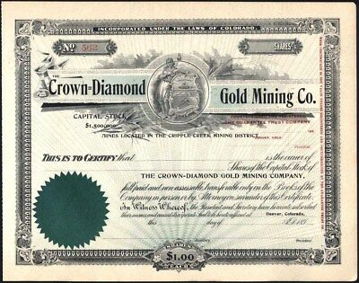 Crown = Diamond Gold Mining Co, Cripple Creek, Co 189- (First I've Owned Or Seen