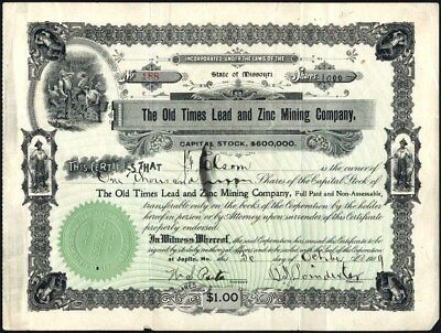 Old Times Lead And Zinc Mining Co, Joplin, Mo., 1909 Uncancelled Stock Cft.