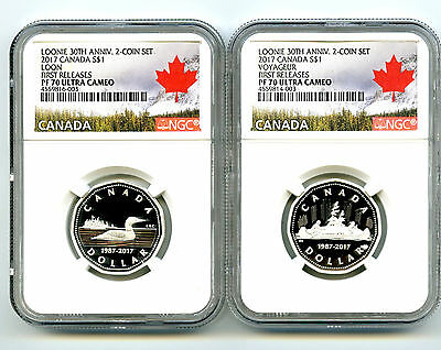 2017 $1 Silver Canada Loonie Voyageur Ngc Pf70 30Th Anniv Proof 2-Coin Loon Set