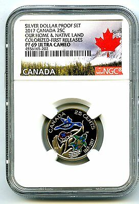 2017 Canada 150Th Anniv Proof 25 Cent Ngc Pf69 Colorized First Release Quarter