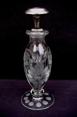 HEISEY FLORAL ETCHED CRYSTAL w/ STERLING SILVER STOPPER ART GLASS PERFUME BOTTLE