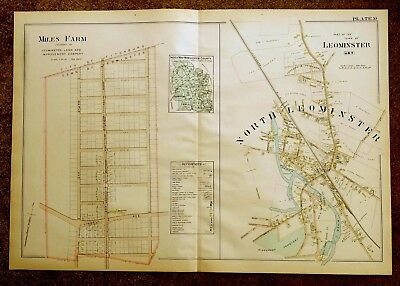 Antique Hand-Colored Map 1898 North Leominster & Miles Farm, MA Massachusetts
