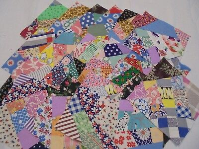 Vintage  Fabric   Crazy Quilt Blocks ---Size  5 Inches Each