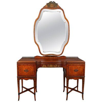 Antique Adam Style Painted and Ebonized Satinwood and Bronze Mirrored Vanity