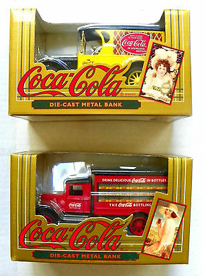 """(Lot Of 2) 1993 Ertl """"coca-Cola"""" Die-Cast Metal Early Delivery Trucks With Bank"""