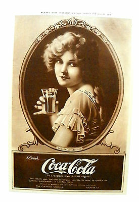 "1919 (Aug) Woman's Home Companion ""drink Coca-Cola ~ Marion Davies"" Magazine Ad."