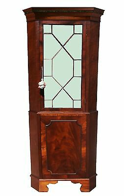 English Georgian Choice Mahogany Paneled Corner Cabinet Chippendale Cupboard