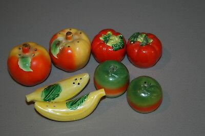 Lot 4 Vintage Made In Japan Vegetable Salt Pepper Shakers Tomatoes banana Apple