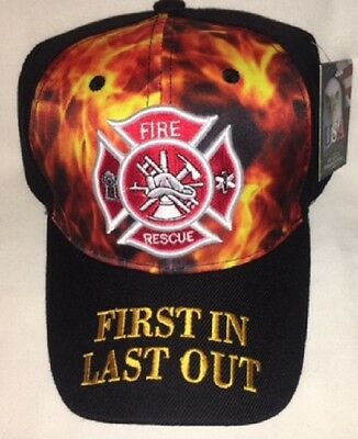 New Black Cap with Embroidered Maltese Cross on Flames Firefighter Design