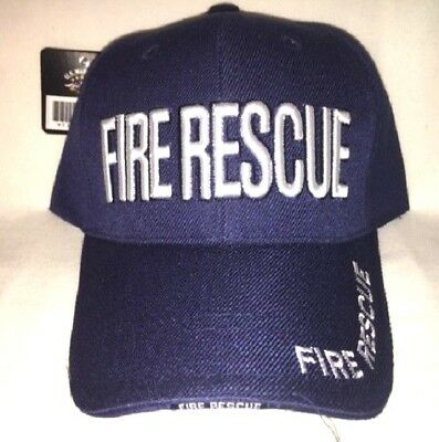 New Dark Blue Cap with Embroidered Fire Rescue Firefighter Design