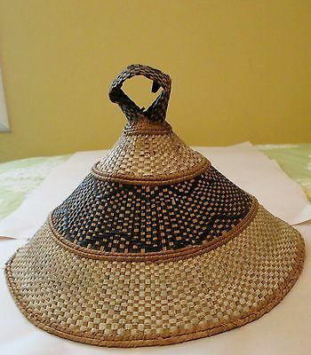Vintage Handcrafted African Basotho Grass Hat ~ 1970's Missonaries To Africa Na