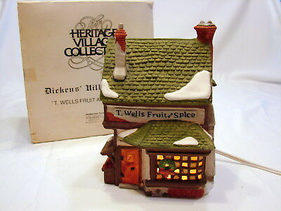 Dept 56 Dickens Village Series T. Wells Fruit and Spice Shop 1990 Retireed 59242