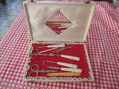 Vintage Manicure Set in case with mirror