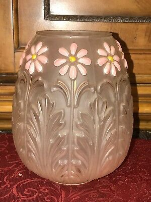 Vintage / Antique Frosted Glass Tulip Shaped Lampshade Raised Pink Floral Design