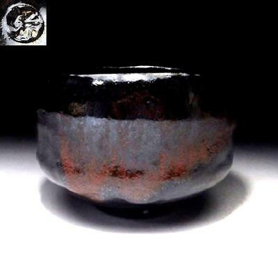 QA1:Japanese Tea bowl, Raku Ware by Famous potter, Shoraku Sasaki, Black & red