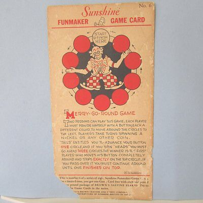 1932 Sunshine Biscuits Brown Crackers CANDY Co Premium Game Card Vintage