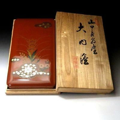 QN3: Vintage Japanese Lacquered wooden box, Ouchi lacquer ware, Natural wood