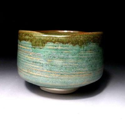 QE8: Japanese Tea Bowl, Seto Ware by Famous potter, Eichi Kato, Green glaze