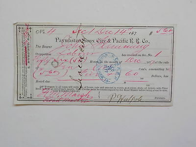 Scrip 1877 Sioux City & Pacific Railroad Co. Payment Money Paper VTG Old America