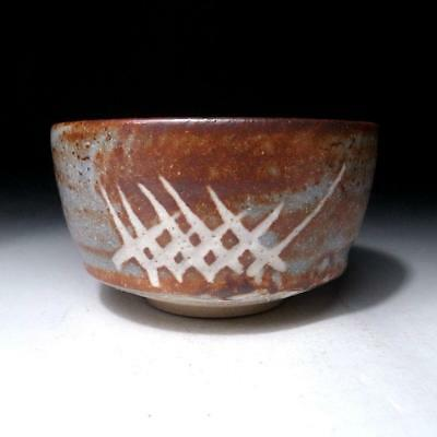 OF6: Vintage Japanese Tea bowl of Shino ware, Light gray & brown glazes