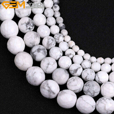 """Faceted Natural Round Stone Howlite Gemstone Beads For Jewelry Making 15"""" in Lot"""
