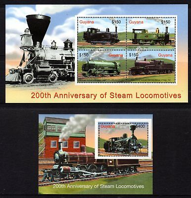 Guyana 2004 Steam Locomotives Sheetlet 4 + M/S MNH