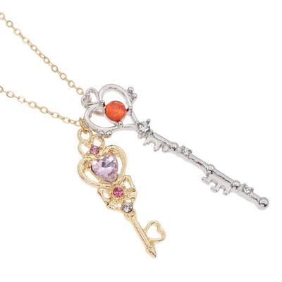 Anime Sailor Moon 25th Anniversar Double Key Pendant Necklace Jewelry Cosplay