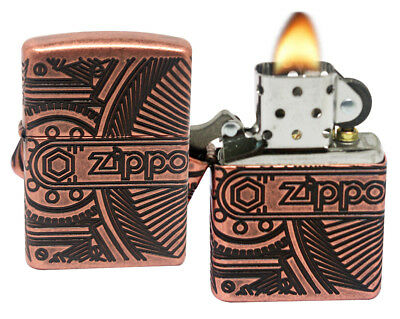 Zippo Gears 29523 Armor Antique Copper Brass Finish 360 Degree Multi Cut Lighter