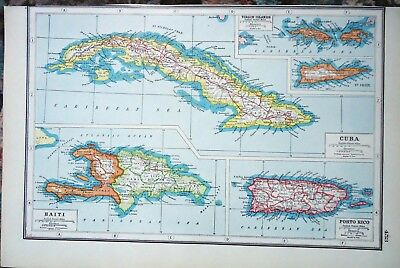 Antique Map ~ HAITI Cuba PORTO RICO Virgin Islands CARIBBEAN ~ Harmsworth 1920