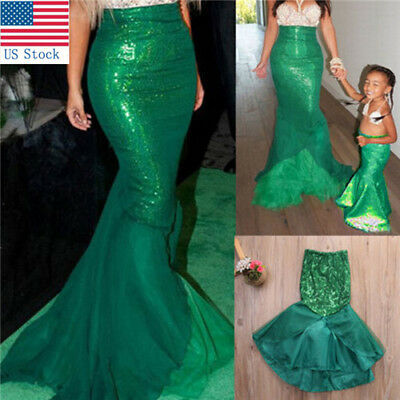 Women & Kids Sexy Mermaid Halloween Costume Fancy Party Sequins Dress Tail Skirt