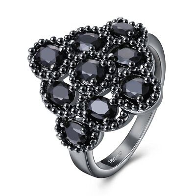 2017 New Vintage Big Black Oval Rings For Women Size6-9 Antique Silver Plated
