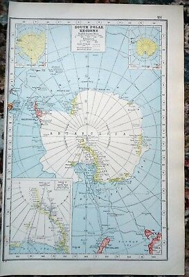 Antique Map ~ SOUTH POLAR REGIONS ~ Harmsworth 1920 Almost 100 Years Old