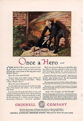1920 Color Grinnell Automatic Sprinkler Ad-Old Soldiers Home