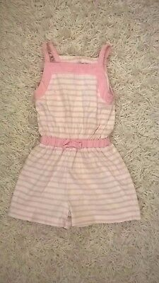 Girls age 3-4 Years White + Pink Short Summer Playsuit All In One