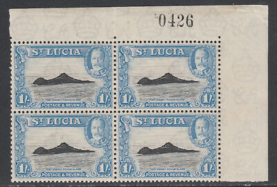 St Lucia 5729 - 1936 KG5 Pictorial 1s CORNER BLOCK with SHEET NO. unmounted mint