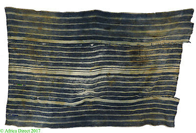 Indigo Textile Handwoven Striped Dyed Cloth African Art 54 Inch
