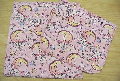 Unicorns Moons Stars Baby Blanket Burp Cloth Set Can Personalize