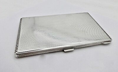 Large Heavy Italian Art Deco Sterling Silver Cigarette,i.d.,document Case