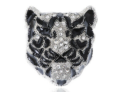 Fierce White Crystal Rhinestone Grandfather Snow Tiger Cat Head Brooch Design