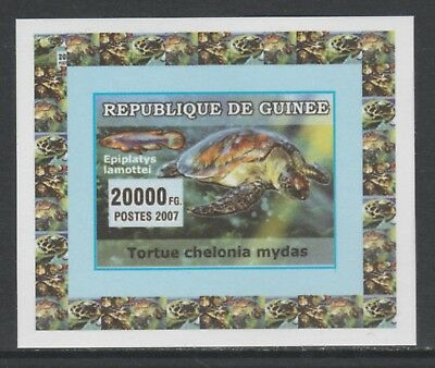 Guinea 5741 - 2007 TURTLES & FISH #3 imperf deluxe sheet unmounted mint